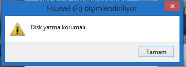 disk yazma hatası