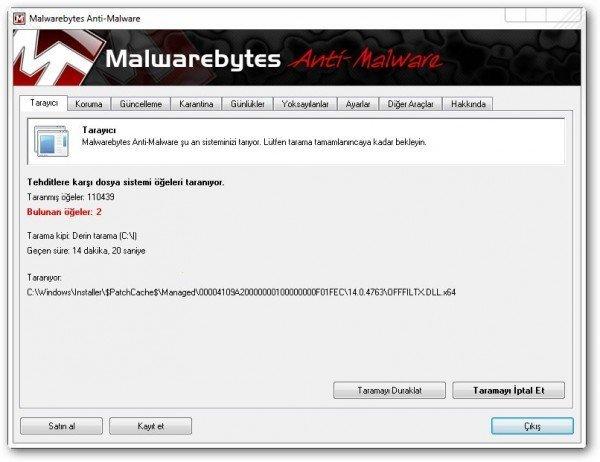 Malwarebytes tarama