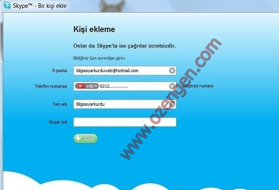 Kişiler ekledikten sonra Skype tüm özelliklerini kullanabilirsiniz
