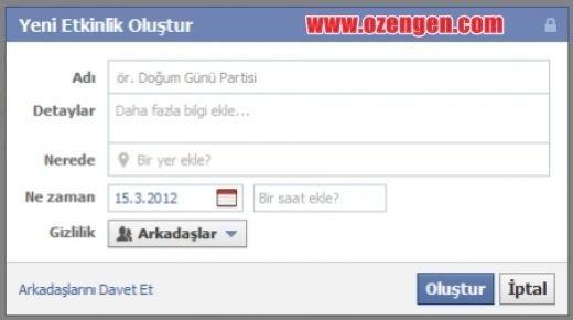 facebook etkinlik