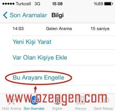 iphone engelleme