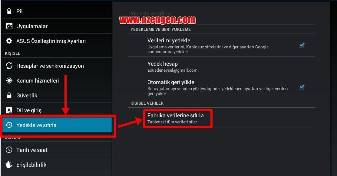 Android_fabrika ayar