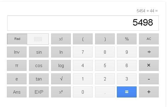 google hesap makinası