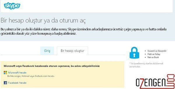skype hesap