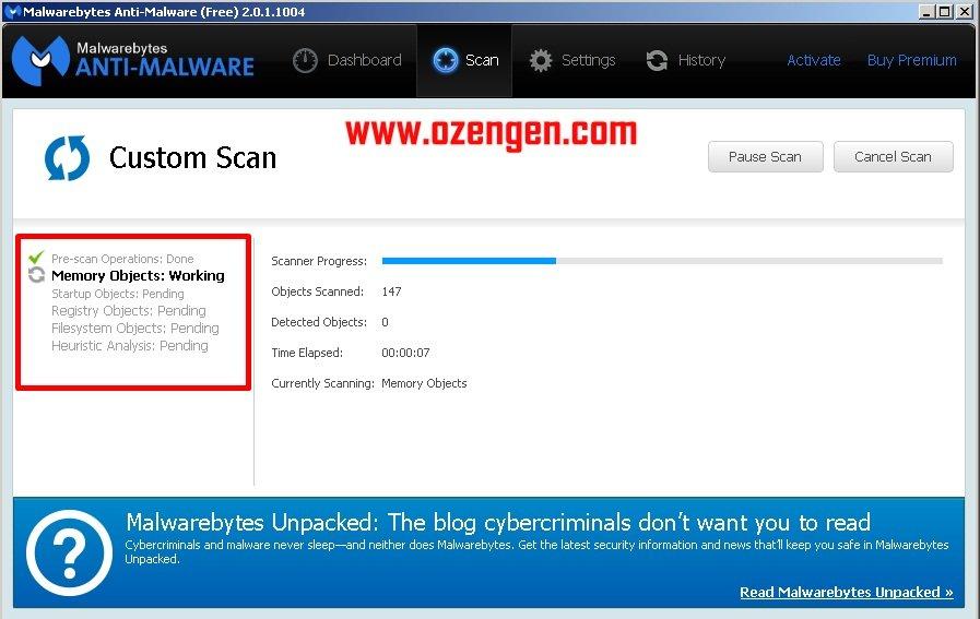 MalwareBytes kullanım 2
