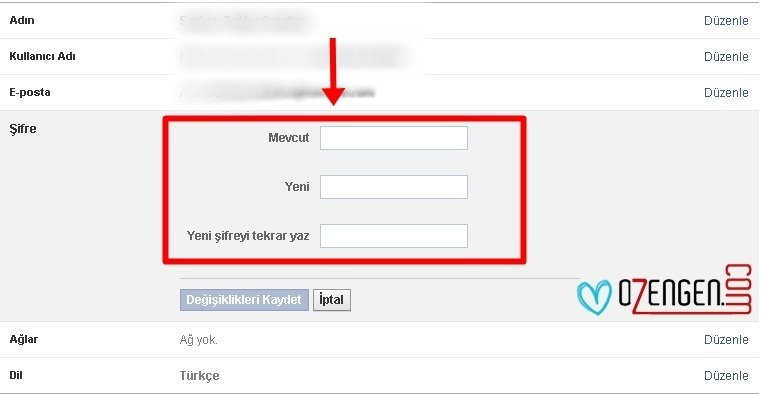 facebook şifre değiştirme