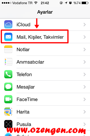 iphone mail kurulumu 1