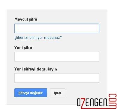 google şifre