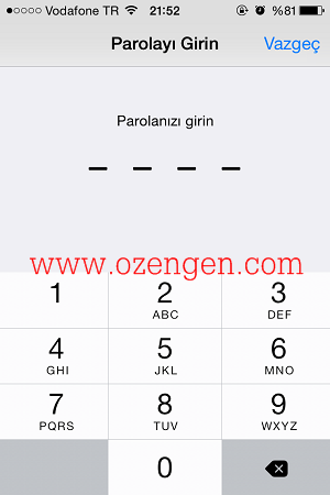 iphone şifre