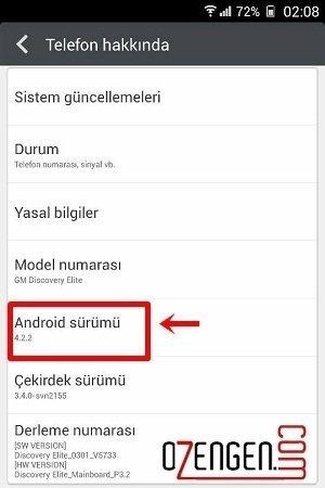 android sürüm