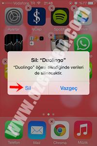 iphone uygulama silme 3