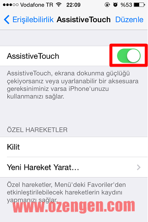 assistive touch açma