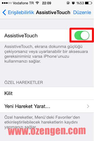assistive touch açma