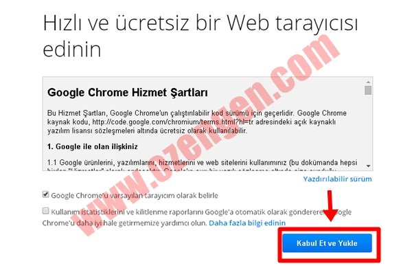 chrome yükle