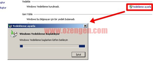 windows yedekleme