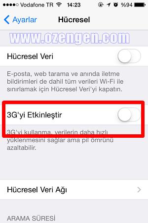 iphone 3g ayar