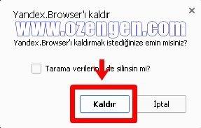 yandex browser kaldır