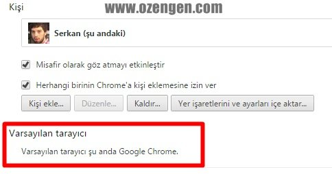 chrome varsayilan