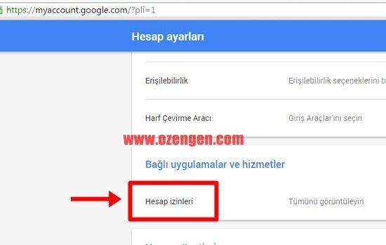 google hesap izinleri