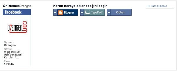 Facebook sayfa karti
