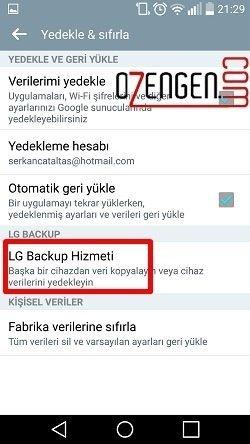 Lg backup hizmeti