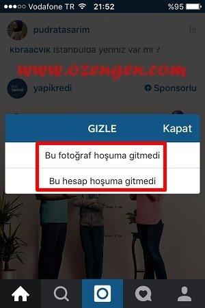 instagram reklam gizle