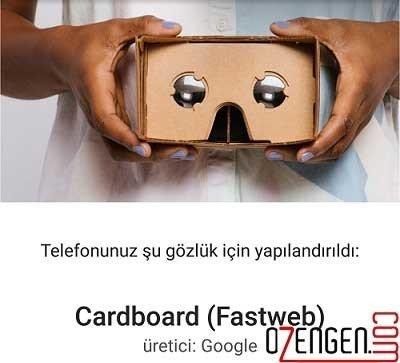 Cardboard ayarlar