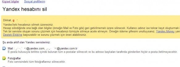Yandex silme