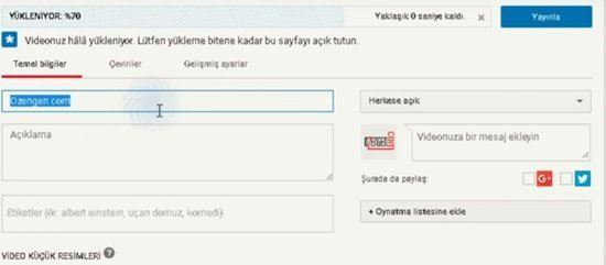youtube yukleniyor