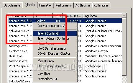 Chrome islemi sonlandir