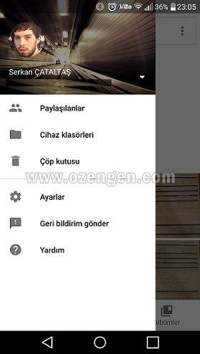 Google fotograflar menu