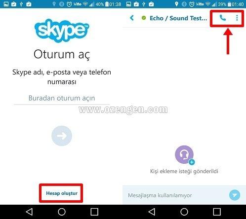 Skype goruntulu arama