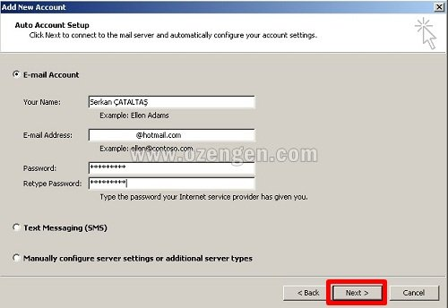 outlook hotmail kurulumu 1