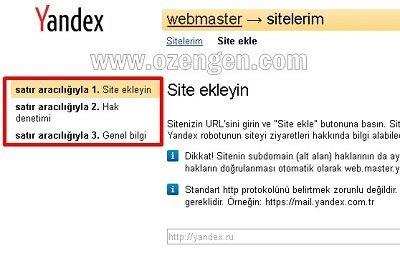 yandex webmaster menu