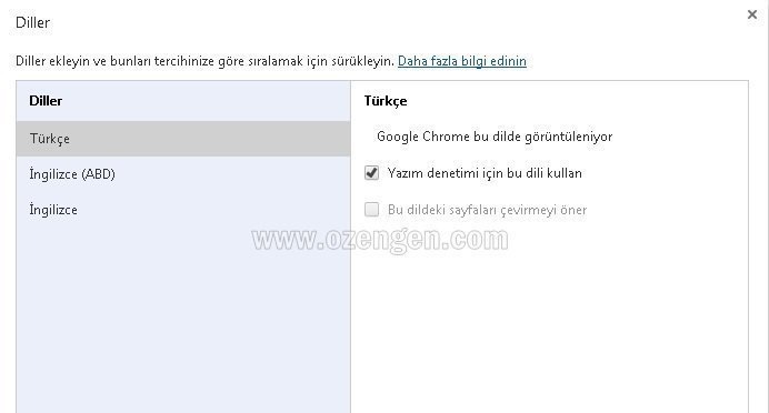 Chrome dil ayar