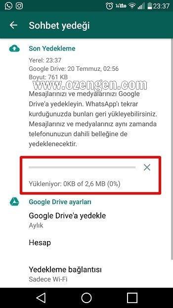 Whatsapp yedek
