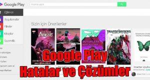 Google play hatalar