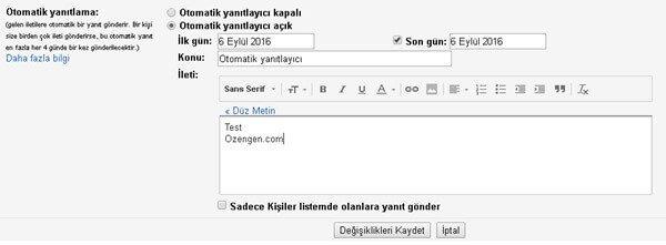 gmail otomatik yanitlama