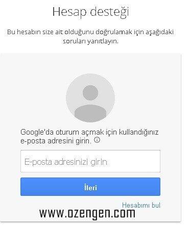 google-hesap-destegi