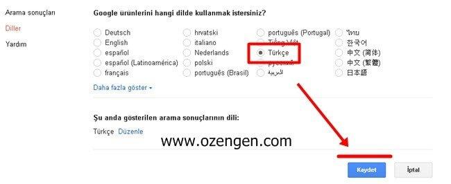 google-turkce