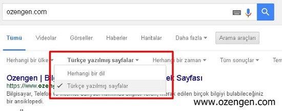 google-turkce-arama