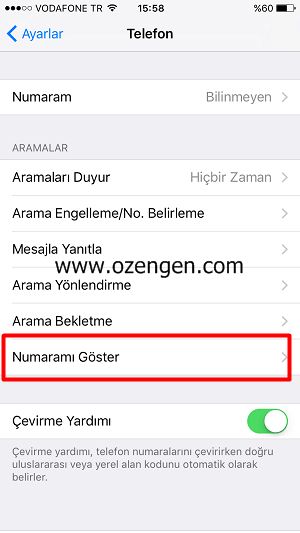 iphone-numarami-goster