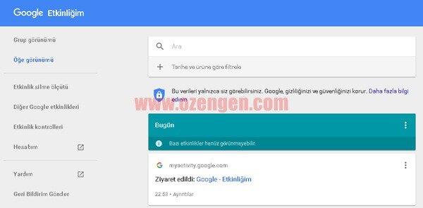 google geçmiş görmek