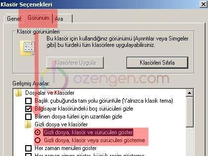 Windows gizli dosya