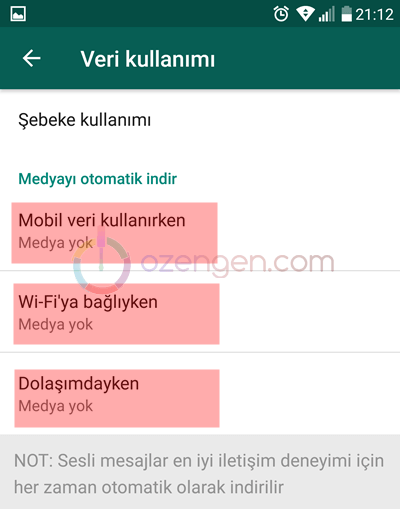 Whatsapp mobil veri