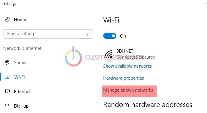 Windows 10 wifi ayarlar