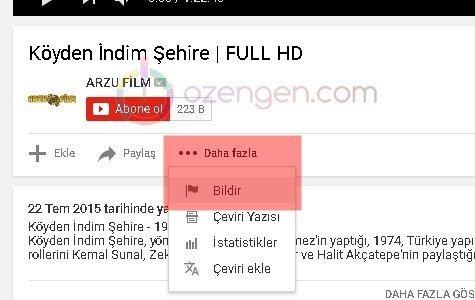 Youtube bildir