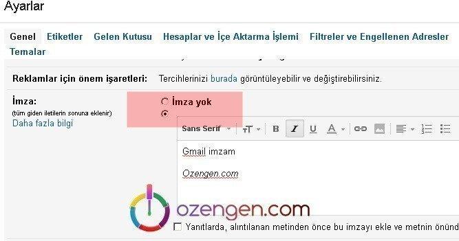 Gmail imza