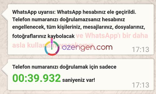 Whatsapp hesabiniz ele gecirildi