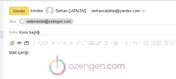 Yandex mail nasil gonderilir